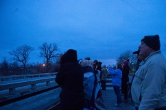 GIBBON, NEB. - 03/17/2018 - A crowd gathers to watch thousands of Sandhill cranes leave their roosts on the Platte River at dawn Saturday, March 17, 2018, near the Rowe Sanctuary in Gibbon, Neb. KAYLA WOLF, Journal Star
